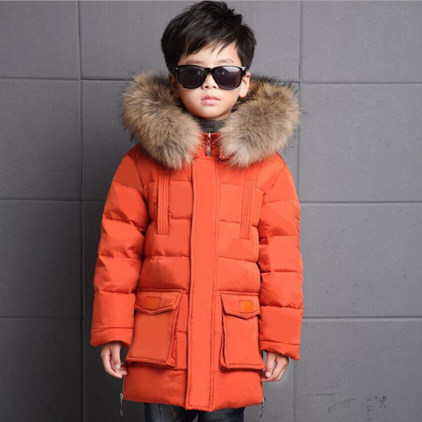 2016 new children Down/Parkas 6-14 Years long style boys duck down jackets girls winter coats kids windproof warm ski outwear