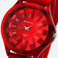As mulheres Se Vestem Relógios Top de Luxo Da Marca WOMAGE Crisântemo Floral Dial Lady Geléia De Borracha da Banda de Aço Moda Presente Relogio feminino