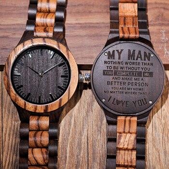 Деревянные часы с гравировкой из натурального дерева Персонализированные Гравированные мужские наручные часы herrenuhr юбилейный подарок на д...
