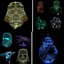 Wholesale Free Shipping 3D USB LED Lamp Star Wars BB-8 Plant Cartoon Figure Charmander Touch Remote Control Illusion Night Light