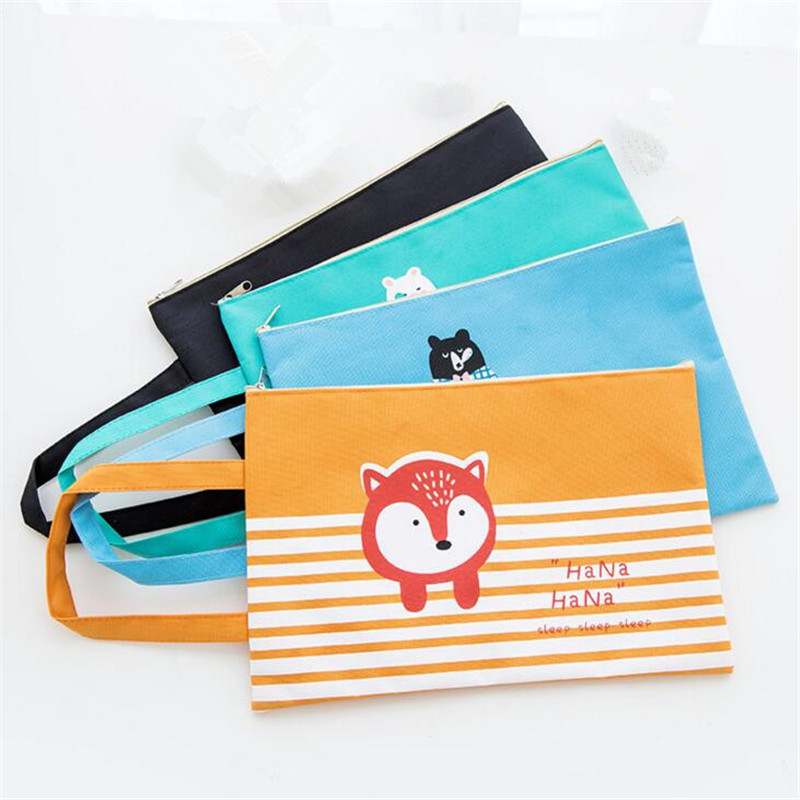 1pcs Cartoon A4 Big Capacity File Bag Documents Folder Bag For Students Girl School Office Storage File Pouch Holder