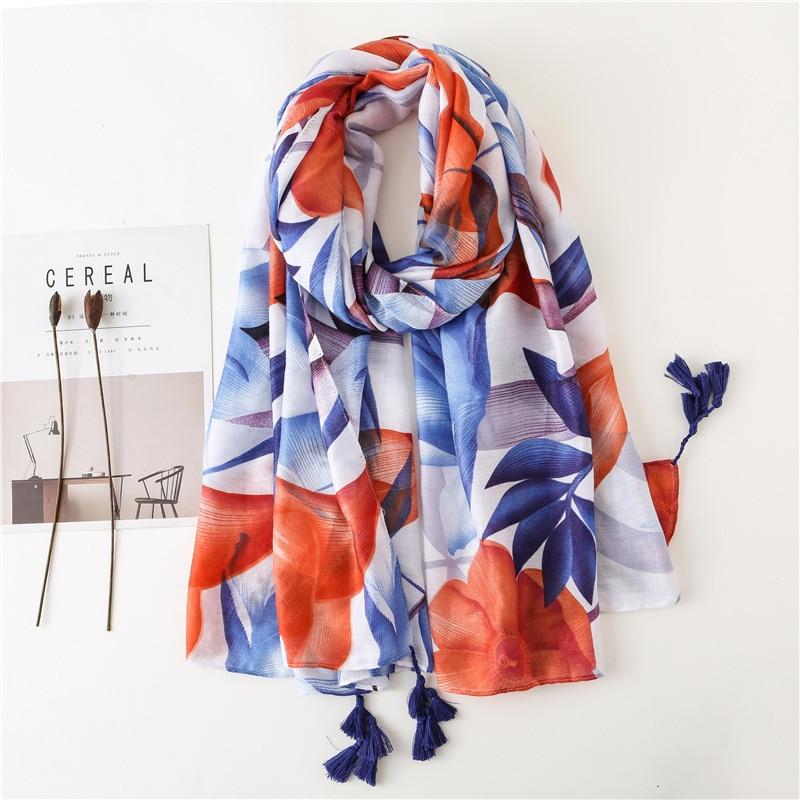 Bright Leaves Design Women Scarf Large Wrap Hijab Design Print Cotton Foulard NEW Shawl [3583]