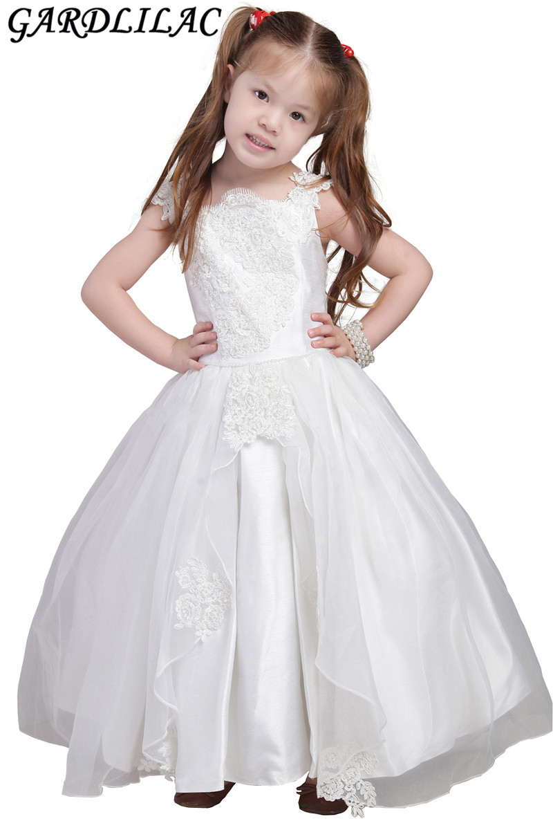 2017 Real Picture Bow Lace Applique Ball Gown Flower Girl Dress