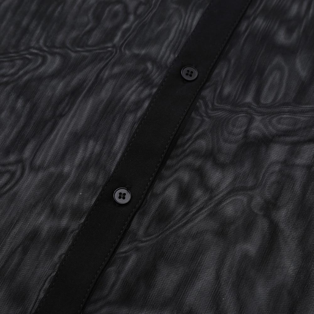 Image 5 - iiniim Mens Fashion See Through Mesh Long Sleeve Clubwear Turn down Collar Top Shirt for Club Evening Party WetLook Shirtsf shirtsfashion shirtsee through shirts -