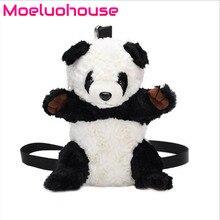 Moeluohouse Panda Shape Mori Girl Women Shoulder Messenger Crossbody Bag Zipper Strap Plush Soft Korean Style Kawaii Cute Gift