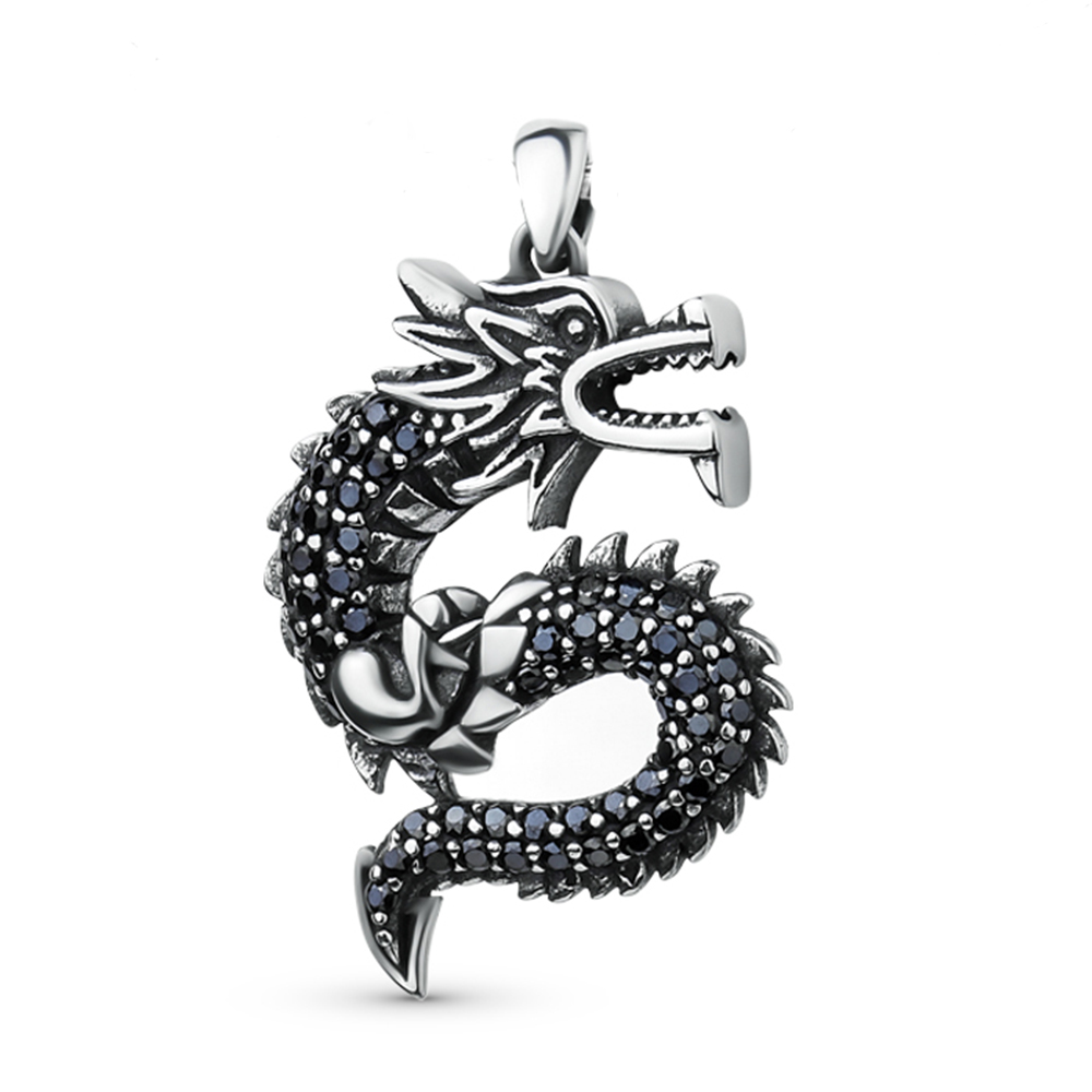 2018 New 925 Sterling Silver Classic Dragon Jewelry Accessories Chain Necklace Women 925 Silver Crystal Stone Necklaces Pendant in Pendant Necklaces from Jewelry Accessories