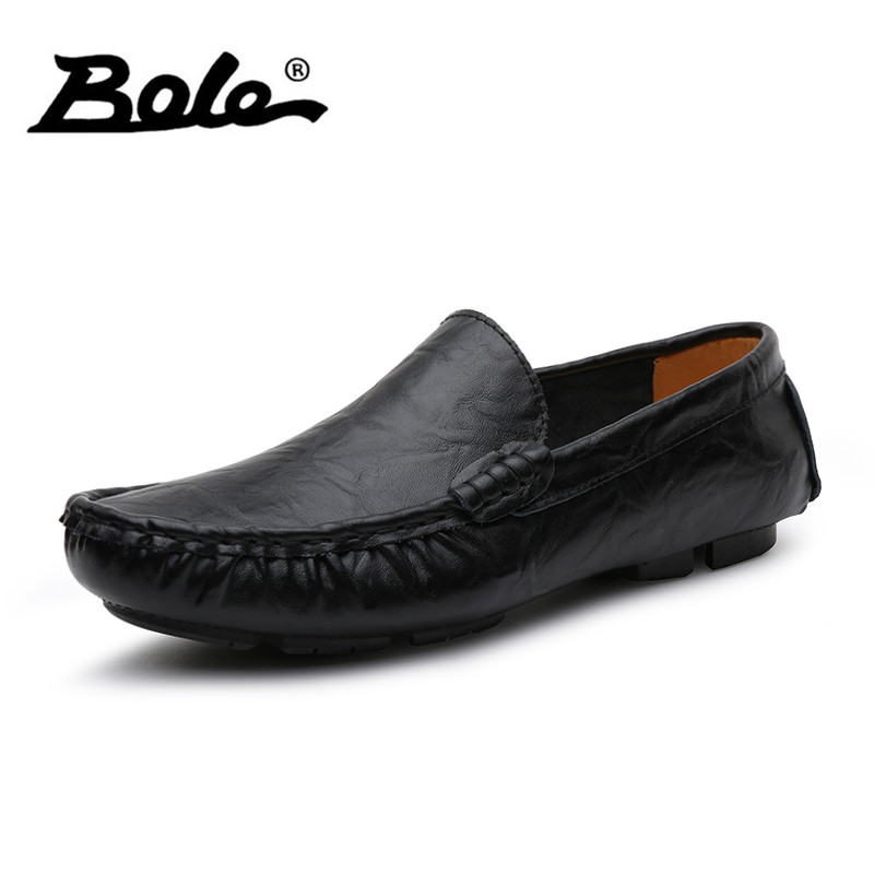 BOLE Size 35-50 Slip on Men Loafers Genuine Leather Shoes Spring Autumn Fashion Handmade Soft Men Driving Shoes Men Flats men loafers 2016 new arrival handmade genuine leather sewing men flats slip on high quality autumn driving shoes for men