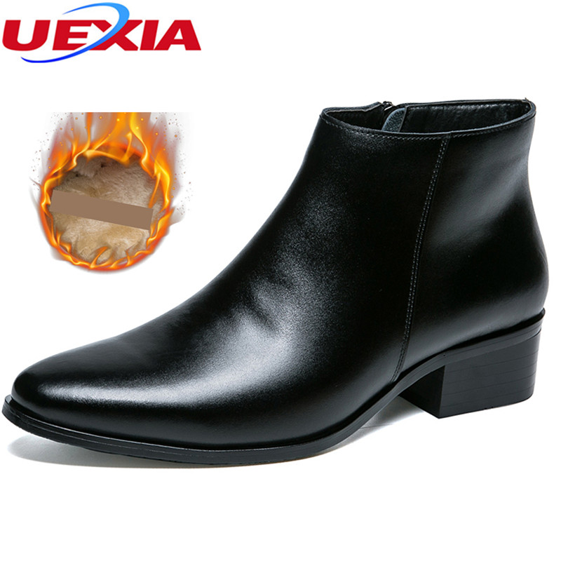 UEXIA Cowhide Leather Men Ankle Snow Boots Increase Leisure Martin Autumn Shoes Mens Pointed Toe Plush Fur Winter Fashion Winter