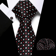 Famous Designer Black Red Polka Dot Wedding Tie Set 100% Silk Neck Ties For Men Gift Wedding Groom Business Party fashionable dot shape decorated wedding red tie for men