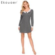 Ekouaer נשים כתונת לילה מזדמן V צוואר ארוך שרוול תחרה טלאי כפתור אונליין רופף בהריון הלבשת Homewear נייטי בגדים