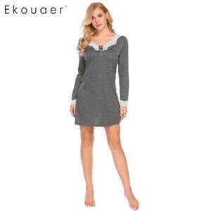 Image 1 - Ekouaer 여성 나이트 가운 캐주얼 v 넥 긴 소매 레이스 패치 워크 버튼 a 라인 느슨한 임신 잠옷 Homewear Nighty Clothes