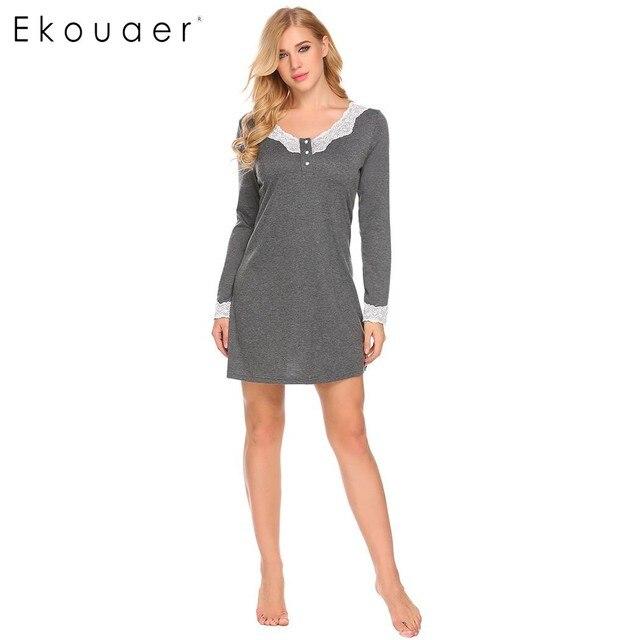 Ekouaer 여성 나이트 가운 캐주얼 v 넥 긴 소매 레이스 패치 워크 버튼 a 라인 느슨한 임신 잠옷 Homewear Nighty Clothes