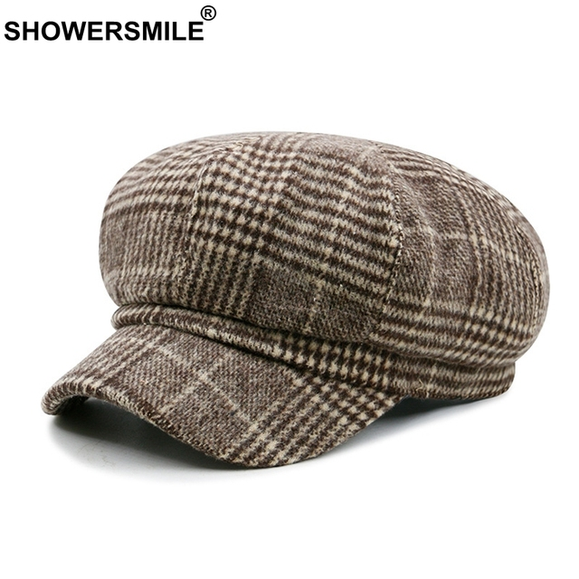 9a99f664d SHOWERSMILE Houndstooth Women Newsboy Cap Brown Plaid Octagonal Hat Male  Gatsby Flat Caps Tweed Cotton Vintage Berets Painters-in Newsboy Caps from  ...