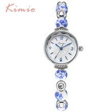 KIMIO Retro Really Chinese Ceramic Watch Blue And White Porcelain China Auspicious Pattern Bracelets Women Watches Luxury Brand