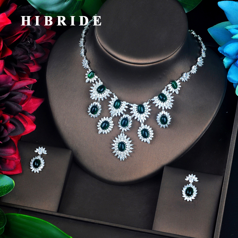 HIBRIDE New Big Green Rhinestone Bridal Jewelry Set Necklace Set Wedding Accessories Pendientes Mujer Moda 2018 N-693HIBRIDE New Big Green Rhinestone Bridal Jewelry Set Necklace Set Wedding Accessories Pendientes Mujer Moda 2018 N-693