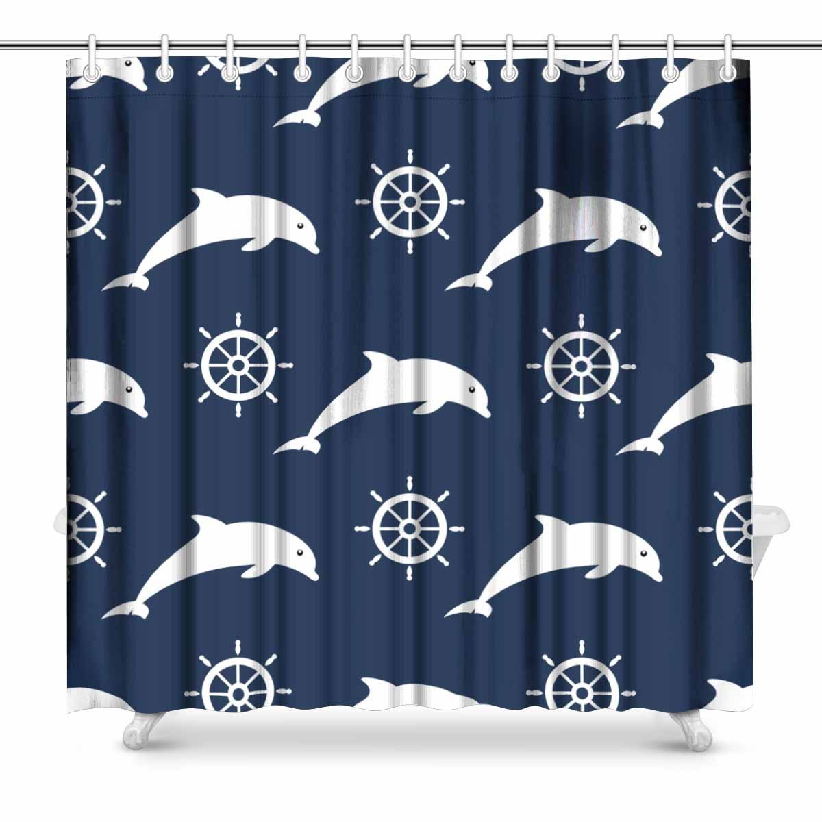 Us 16 99 Aplysia Maritime Mood Nautical Silhouettes Of Dolphins And Steering Wheels Bathroom Accessories Shower Curtain With Hooks In Shower