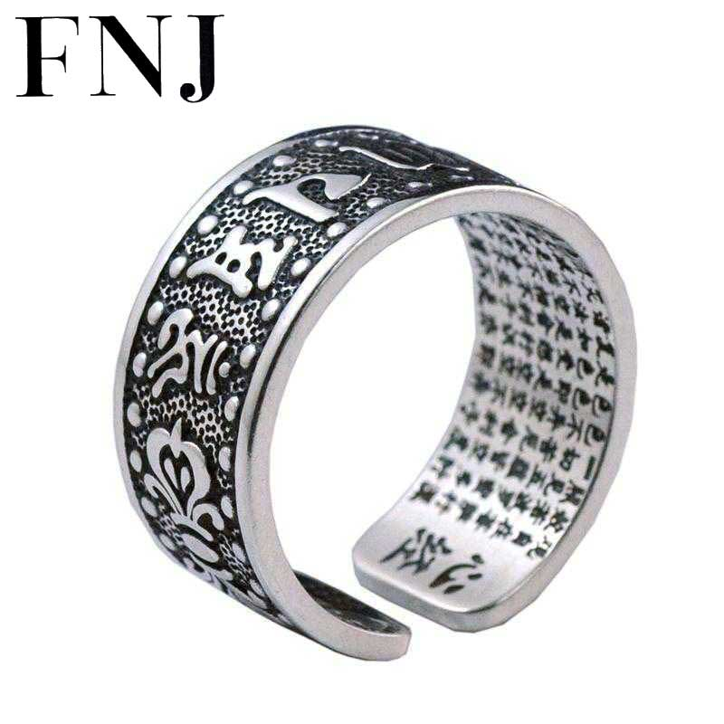 FNJ Men Rings 925 Sterling Silver anillo Punk Six words mantra Real S999 Solid Thai Silver Ring Women Jewelry 925 silver buddha rings for men women jewelry six words of mantra 100