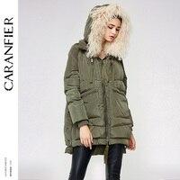 CARANFIER 2017 Women Long Down Jacket High Quality Warm Female Parka Removable Wool Fur Hooded Winter