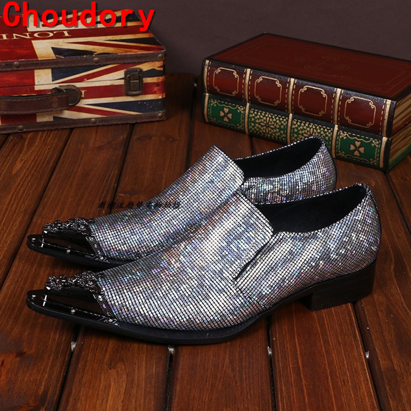 Choudory Mens designer shoes Luxury brand elegant men formal shoes studded glitter loafers iron toe zapatos hombre pluse size46