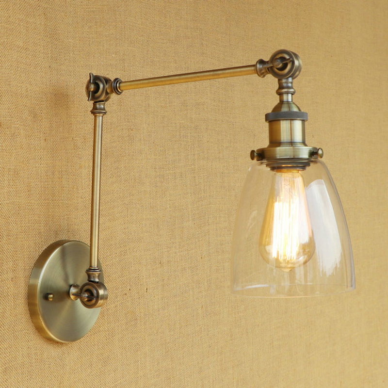 Vintage Loft Industrial wall lamp CLEAR GLASS lampshade free adjust long swing arms E27 bulb for living room restaurant bar vintage industry loft e27 bedroom wall light wall lamp clear glass lampshade free adjust long swing arms for living room