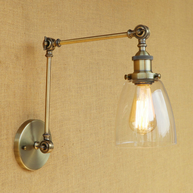 Vintage Loft Industrial wall lamp CLEAR GLASS lampshade free adjust long swing arms E27 bulb for living room restaurant bar