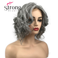 StrongBeauty Lace Front Wig Gray and White mix Short Wavy Synthetic Heat Resistant Hair Wig For Women COLOUR CHOICES