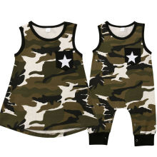 Twin baby boy girl brother and sister matching camouflage outfit