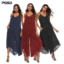 PGSD New female spring summer Fashion street sexy V collar Suspender Backless Simple Wavelet point wide-leg Women Jumpsuits XXXL