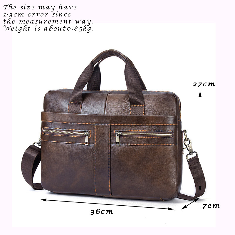 Genuine Leather Laptop bag men 13.3 inch Causal Shoulder Messenger Briefcase Male Notebook bag