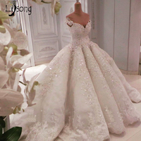 Luxury Appliques LACE Sequin Pleated Wedding Ball Gowns Custom Made Middle East Saudi Arabia Bridal Formal Maxi Gown Romantic