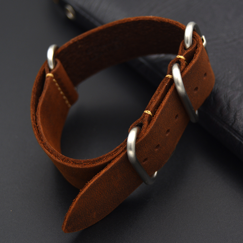 High-end Crazy horse skin Watch Strap 18mm 20mm 22mm 24mm 26mm Vintage Genuine Leather for NATO ZULU Men woman brown Watch Band 20 22 24 26mm black crazy horse genuine leather watchband fashion nato watch strap belt with silver or black buckle clasp