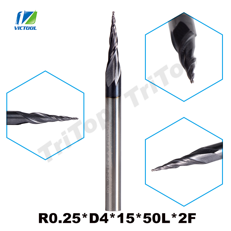 5pcs/lot R0.25*D4*15*50L*2F HRC55 Tungsten solid carbide Coated Tapered Taper Ball Nose End Mill cone mill cnc milling cutter  цены