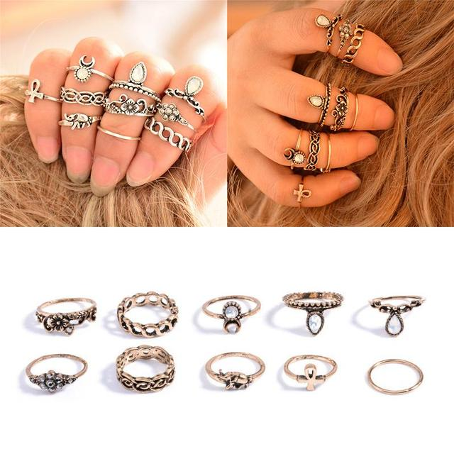 bohemian 10pcs pack vintage elephant moon rings lucky stackable