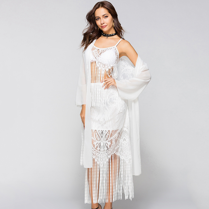 eeb1627598 vertvie Summer Sunproof Beach Cardigan 2019 Sexy Chiffon Black White Bikini  Cover Up Lace Tassel Swimsuit Cover up Robe De Plage-in Cover-Ups from  Sports ...