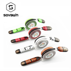 Sovawin Retractable 2 in 1 Leather Micro Charger USB Cable Charge Data Noodle Flat 1m Microusb For IPhone for Samsung Android