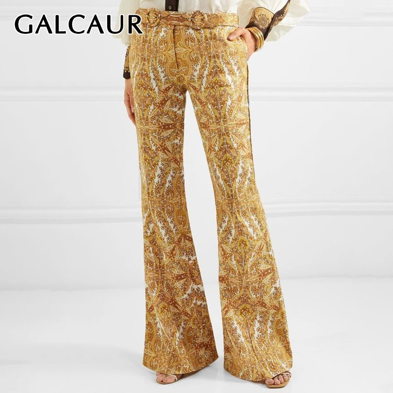 GALCAUR Vintage Print Trousers For Women High Waist With Sashes Slim Flare Pants Female Fashion Clothes
