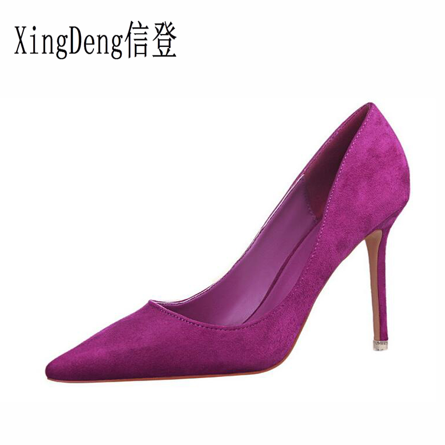 Red Ol 40 Peu Xingdeng orange Talons Stilettos Filles Black red Pompes grey Sexy Taille Chaussures Bout yellow purple 34 Femmes Haute wine pink Robe Partie Profonde Troupeau Pointu green qCUxfU5Y