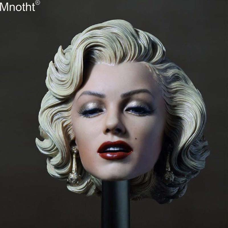 Mnotht 1/6 Female Head Sculpt Marilyn Monroe Model Wear Earrings Women Soldier Accessories Toys for 12in Action Figure Body Mb mnotht fg044 1 6 alien heteromorphic xenomorph egg facehugger model for 12inch action figure sence accessories deep green mb