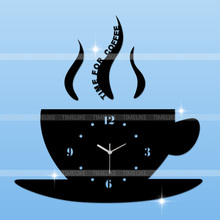 DIY Home Decor Wall Sticker Clock Mirror Effect Coffee Cup Shape Large Decorative Wall Clocks for Living Room