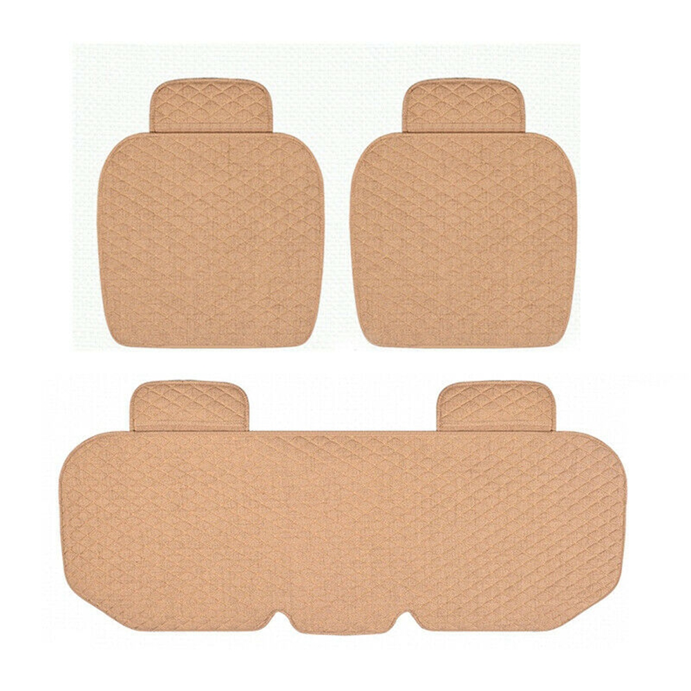 3PCS Linen Fabric Car Seat Cover Breathable Four Seasons Front Rear Flax Cushion Protector Mat Pad Auto accessories
