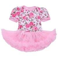 הדפס פרחוני ורוד חצאיות טוטו שמלת תחרת תינוקת Romper סרבל סרבלי Bebes חדש נולד בגדי פעוטה תינוק בגדים חמוד