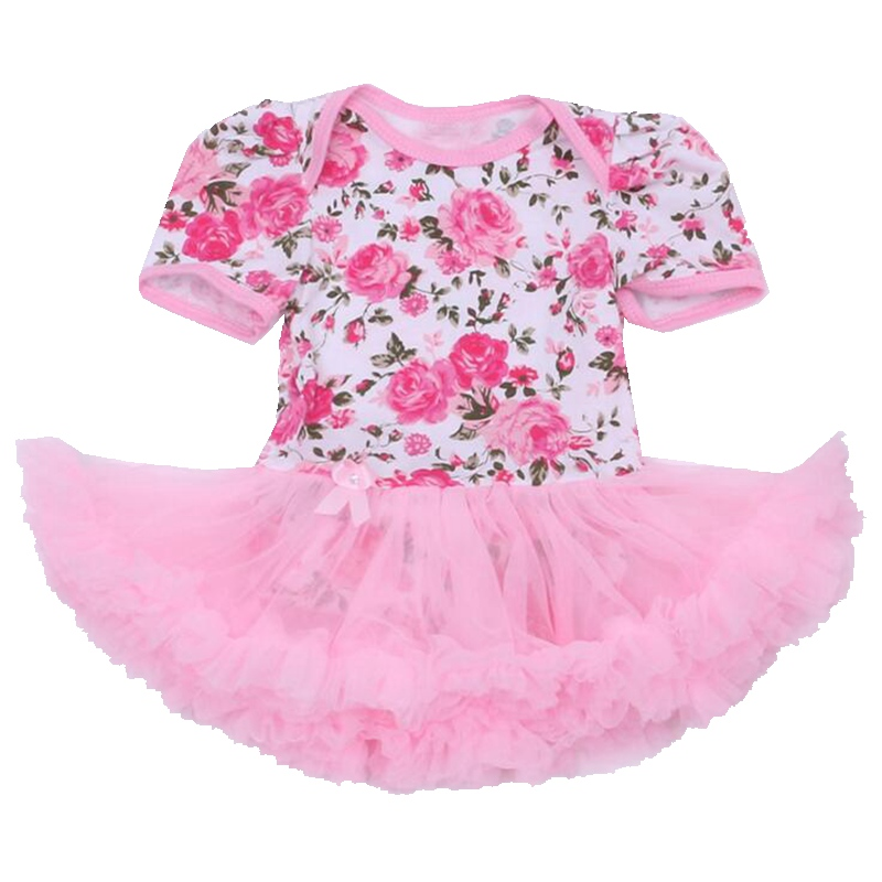30e2f2d8e948 Pink Floral Print Lace Baby Girl Romper Dress Tutus Bebes Jumpsuits ...