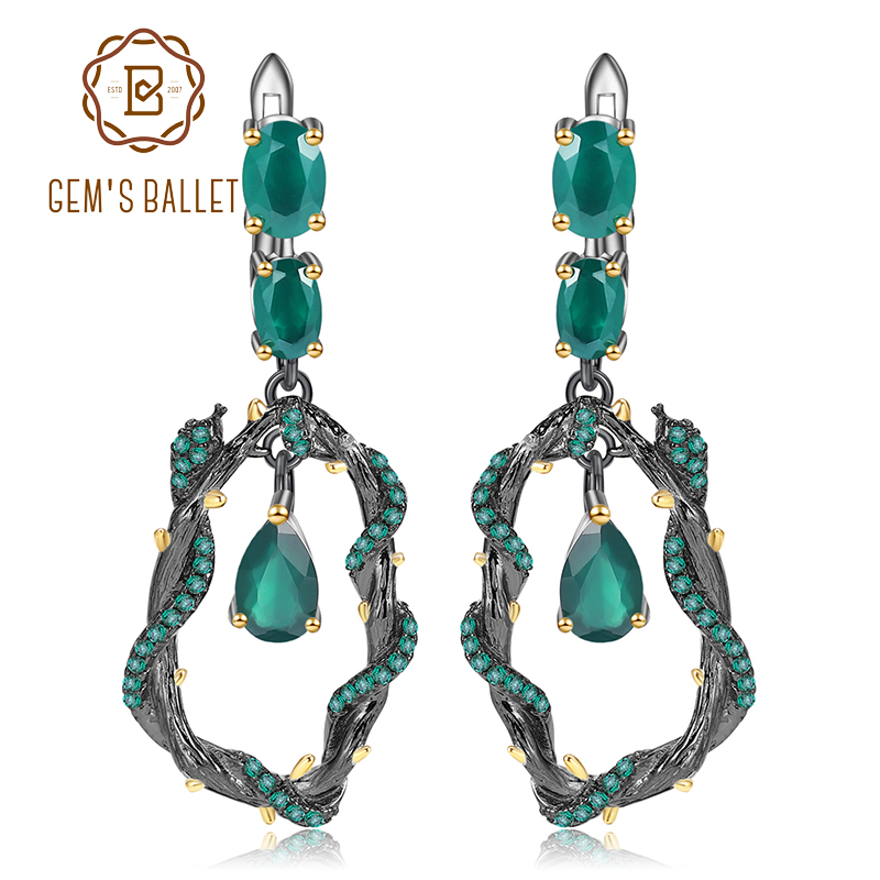 GEM S BALLET Natural Green Agate Gemstone Earrings 925 Sterling Silver Creative Handmade Snake Drop Earrings