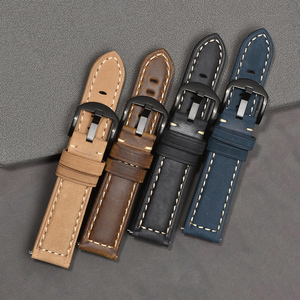 Image 4 - BEAFIRY Crazy Horse Calfskin Leather Watch Band 20mm 22mm 24mm Straps Watchbands Dark Brown Light brown Black Blue Green Belt