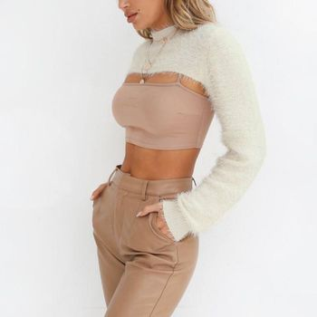 2018 Hot Sale Super Short Cardigan Women Sexy Basic Knitted Pullover Sweater Fashion Long Sleeve Casual Spring Autumn Sweater 8