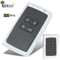 Keyecu 433mhz substituição 3 botão inteligente remoto chave fob para renault espace 5 megane 4 talismã 2016 2017 2018 2019
