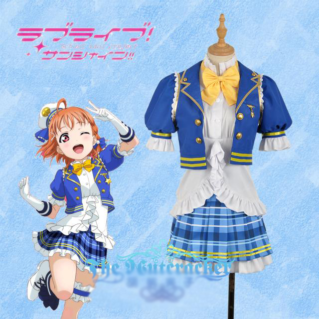 Anime Love live!Sunshine!Takami Chika Aqours SJ Uniform Dress Cosplay Costume Full set free shipping