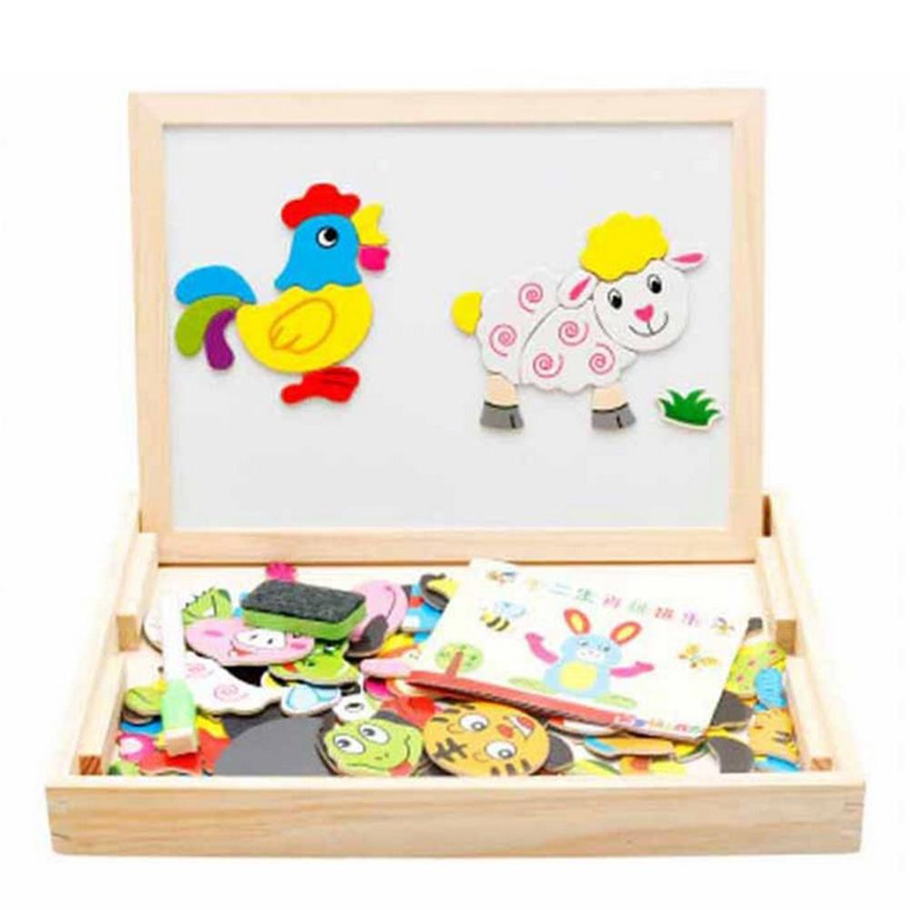 Vitoki 2 In 1 Wooden Double Side Baby Sorting/Nesting/Stacking/Drawing/Writing Board Magnetic Puzzle Game Toys Sets White/Black