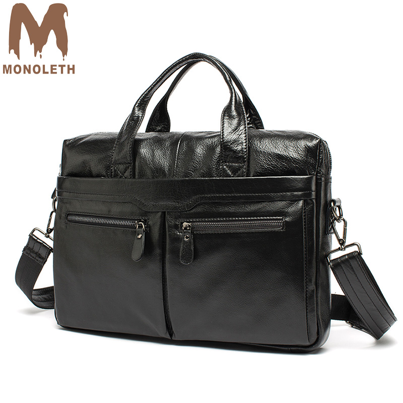 MONOLETH Laptop Bag 14 inch Genuine Leather Men Bag business Men's Briefcases men travel Tote luxury handbags bags designer new p kuone famous brands briefcases men luxury genuine cow leather 13 inch laptop bag high quality handbags business travel bag