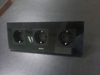 Drop Shipping Supported EU Triple Power Socket Black Crystal Glass Panel 16A EU Standard Wall Outlet